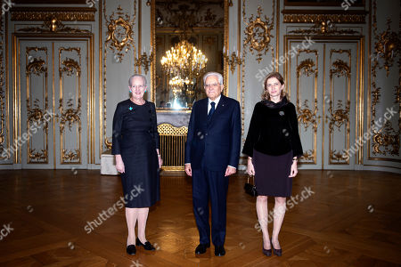 Italian President Sergio Mattarella (C) and his daugther and Italy's First Lady Laura Mattarella (R) pose for a photo with Denmark's Queen Margrethe II (L) at Amalienborg Castle in Copenhagen, Denmark, 08 October 2019. Mattarella is on a one day official visit to Denmark during which he will visit a newly opened metro line in central Copenhagen that was built and is operated and maintained by Italian companies or joint ventures, the International Press Center (IPC) in Denmark said in a media release.