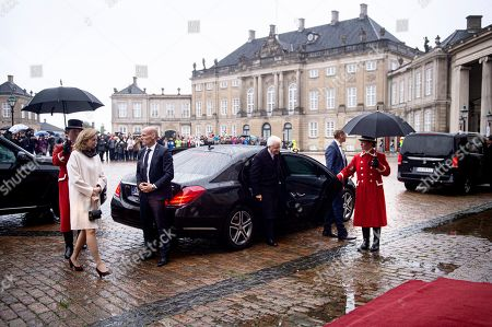 Stock Picture of Italian President Sergio Mattarella (C) and his daugther and Italy's First Lady Laura Mattarella (2-L) arrive for a lunch with Denmark's Queen Margrethe II at Amalienborg Castle in Copenhagen, Denmark, 08 October 2019. Mattarella is on a one day official visit to Denmark during which he will visit a newly opened metro line in central Copenhagen that was built and is operated and maintained by Italian companies or joint ventures, the International Press Center (IPC) in Denmark said in a media release.