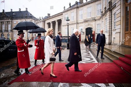 Italian President Sergio Mattarella (C-R) and his daugther and Italy's First LadyLaura Mattarella (C-L) arrive for a lunch with Denmark's Queen Margrethe II at Amalienborg Castle in Copenhagen, Denmark, 08 October 2019. Mattarella is on a one day official visit to Denmark during which he will visit a newly opened metro line in central Copenhagen that was built and is operated and maintained by Italian companies or joint ventures, the International Press Center (IPC) in Denmark said in a media release.