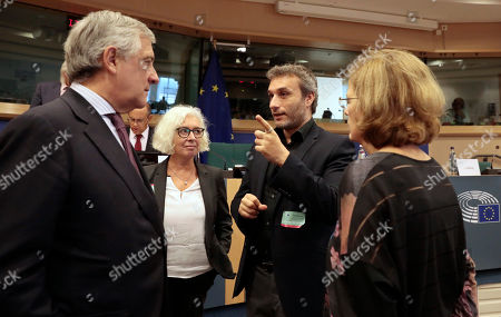Stock Photo of Chairman Antonio Tajani, left, meets citizen advocates, from left, Jane Golding, Chair of British in Europe, Dimitri Scarlato of the 3 million and Monique Hawkins of the 3 million prior to meeting of the Committee on Constitutional Affairs at the European Parliament in Brussels, . The committee meeting was held to discuss citizen rights of UK citizens living in the EU and EU citizens living in the UK