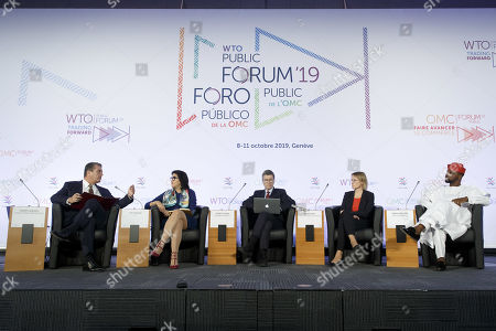 Stock Image of Brazilian Roberto Azevedo (L), Director General of the World Trade Organization (WTO) sits next to Tina Fordham (2-L), Managing Director and Chief Global Political Analyst at Citi, Jeffrey D. Sachs (C), US economist and director of the Earth Institute at Columbia University, Melanie Kreis (2-R), Chief Financial Officer Deutsche Post DHL Group and Adebola Williams (R), CEO of Red for Africa during the inaugural session panel of the WTO Forum Public 'Trading Forward', at the WTO headquarters in Geneva, Switzerland, 08 October 2019.