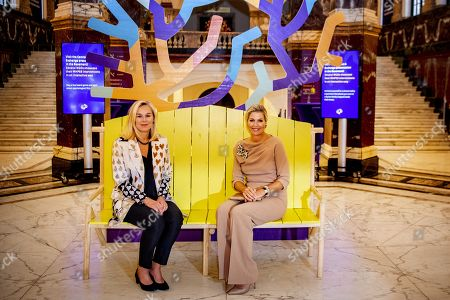 Dutch Queen Maxima (R) and Dutch Minister for Foreign Trade and Development Cooperation Sigrid Kaag (L) attend the Conference for Mental Health and Psychosocial Support at the Royal Tropical Institute in Amsterdam, The Netherlands, 08 October 2019.