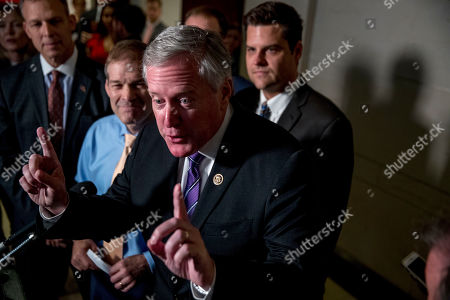 Scott Perry, Jim Jordan, Mark Meadows, Matt Gaetz. Republican lawmakers, from left, Rep. Scott Perry, R-Pa., Rep. Jim Jordan, R-Ohio, ranking member of the Committee on Oversight Reform, Rep. Mark Meadows, R-N.C., and Rep. Matt Gaetz, R-Fla., speak to reporters after a formerly planned joint committee deposition with Ambassador Gordon Sondland, with the transcript to be part of the impeachment inquiry into President Donald Trump, was canceled by order of the Trump Administration, on Capitol Hill in Washington, . T