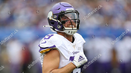 Minnesota Vikings wide receiver Adam Thielen (19) during an NFL football game against the New York Giants, in East Rutherford, N.J. The Vikings won 28-10