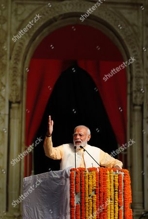 Indian Prime Minister Narendra Modi speaks at an event marking the end of Dussehra festival in New Delhi, India, Tuesday, Oct.8, 2019. Dussehra commemorates the triumph of Lord Rama over the demon king Ravana, marking the victory of good over evil