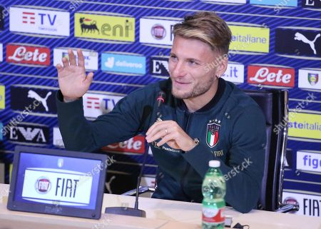 Italian national soccer team forward Ciro Immobile speaks during a press conference at Coverciano Sport Center in Florence, Italy, 08 October 2019. Italy will face Greece in their UEFA Euro 2020 group J qualifying soccer match on 12 October 2019.