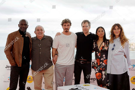 Guinean actor Emilio Buale, Spanish actor Zorion Eguileor, Spanish actor Ivan Massague, Spanish film director Glader Gaztelu-Urrutia, and Spanish actresses Alexandra Masangkay and Antonia San Juan pose for the media during the presentation of the movie 'El Hoyo' (The Platform) at the 52nd Sitges International Fantastic Film Festival of Catalonia, in Sitges near Barcelona, Spain, 08 October 2019. The film festival runs from 03 to 13 October.