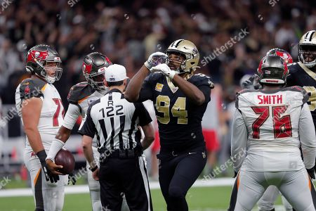 New Orleans Saints defensive end Cameron Jordan (94) seats on a defensive stop in the second half of an NFL football game against the Tampa Bay Buccaneers in New Orleans