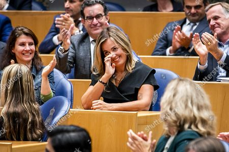 Stock Photo of Marianne Thieme reacts during the farewell in the Lower House after her resignation as party chairman of the Party for the Animals, in the Hague, the Netherlands, 08 October 2019. Thieme, one of the party's founders, has been in the Chamber since 2006.