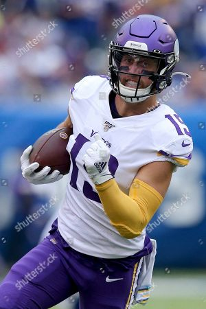 Minnesota Vikings wide receiver Adam Thielen (19) in action against the New York Giants during an NFL football game on in East Rutherford, N.J. The Vikings defeated the Giants 28-10