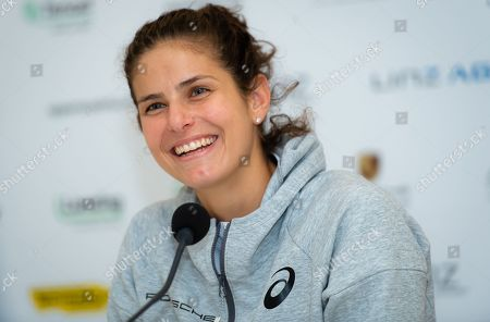 Julia Goerges of Germany talks to the media