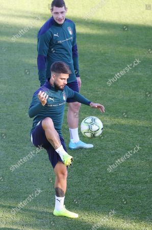 Italy's players Andrea Belotti (back) and Lorenzo Insigne in action during the training session in Coverciano, Florence, Italy, 08 October 2019. Italy will face Greece in their UEFA Euro 2020 group J qualifying soccer match on 12 October 2019.
