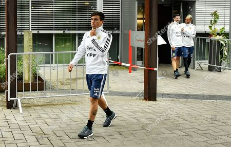 Argentina's Paulo Dybala walks to a training session on at the sports school Kaiserau in Kamen, Germany, prior a friendly soccer match between Germany and Argentina in Dortmund on Wednesday