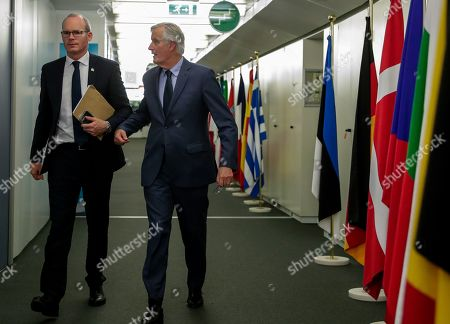 Stock Picture of Irish Foreign Minister Simon Coveney is welcomed by European Union's chief Brexit negotiator Michel Barnier (R) ahead of talks at the European Commission headquarters in Brussels, Belgium, 08 October 2019.