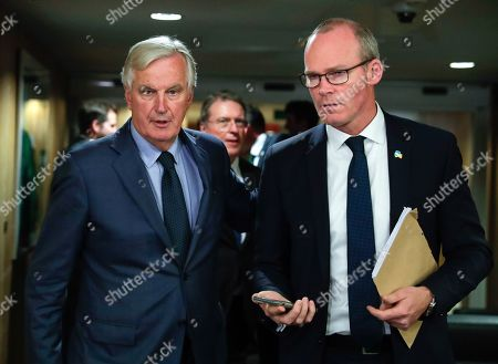 Editorial picture of Irish FM Coveney meets with EU chief Brexit negotiator Barnier in Brussels, Belgium - 08 Oct 2019