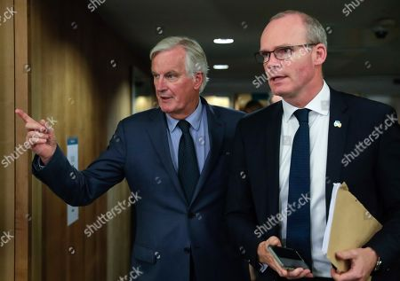 Irish Foreign Minister Simon Coveney is welcomed by European Union's chief Brexit negotiator Michel Barnier (L) ahead of talks at the European Commission headquarters in Brussels, Belgium, 08 October 2019.