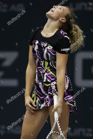 Katerina Siniakova of Czech Republic reacts during her match