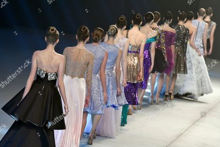 Stock Image of Models present creations by Lebanese designer Rani Zakhem during the 'Designers and Brands' fashion show in Beirut, Lebanon, 08 October 2019.