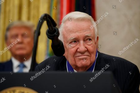 Edwin Meese, Donald Trump. Former Attorney General Edwin Meese speaks, with President Donald Trump behind him, during a ceremony to present the Presidential Medal of Freedom to Meese, in the Oval Office of the White House, in Washington