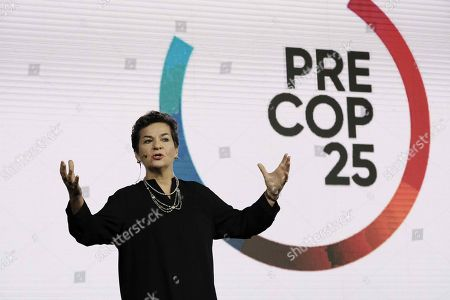 Costa Rican Christiana Figueres, negotiation leader of the Paris Agreement, speaks during the Conference of the Parties to the United Nations Framework Convention on Climate Change inauguration (COP25) in San Jose, Costa Rica, 08 October 2019. Representatives of 86 countries participate during the meeting that will seek to advance in the approach of actions to face climate crisis.