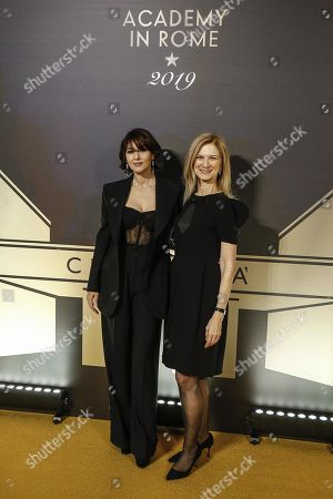 Monica Bellucci (L) with CEO of Film Academy, Dawn Hudson pose on the red carpet at the first Italian event of the 'Academy of Motion Pictures, Arts and Sciences' at Barberini Palace in Rome, Italy, 08 October 2019.