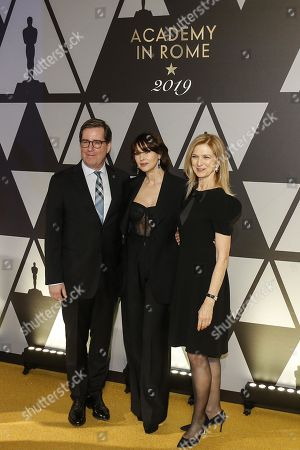 President of the Film Academy David Rubin (L), Italian actress Monica Bellucci (C) and CEO of Film Academy, Dawn Hudson pose on the red carpet at the first Italian event of the 'Academy of Motion Pictures, Arts and Sciences' at Barberini Palace in Rome, Italy, 08 October 2019.