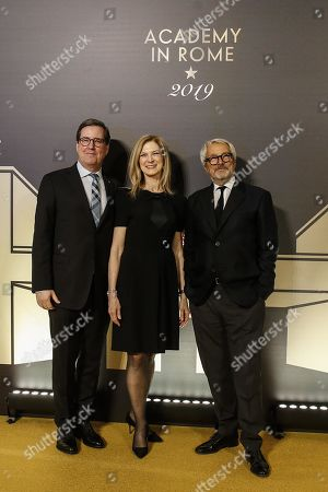 Stock Image of President of the Film Academy David Rubin (L), Cinecitta Istituto Luce managing director Roberto Cicutto (R) and CEO of Film Academy, Dawn Hudson pose on the red carpet at the first Italian event of the 'Academy of Motion Pictures, Arts and Sciences' at Barberini Palace in Rome, Italy, 08 October 2019.