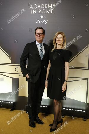 President of the Film Academy David Rubin (L) and CEO of Film Academy, Dawn Hudson pose on the red carpet at the first Italian event of the 'Academy of Motion Pictures, Arts and Sciences' at Barberini Palace in Rome, Italy, 08 October 2019.