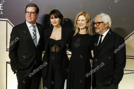 Stock Photo of President of the Film Academy David Rubin, Italian actress Monica Bellucci, CEO of Film Academy Dawn Hudson and Cinecitta Instituto Luce managing director, Roberto Cicutto pose on the red carpet at the first Italian event of the 'Academy of Motion Pictures, Arts and Sciences' at Barberini Palace in Rome, Italy, 08 October 2019.