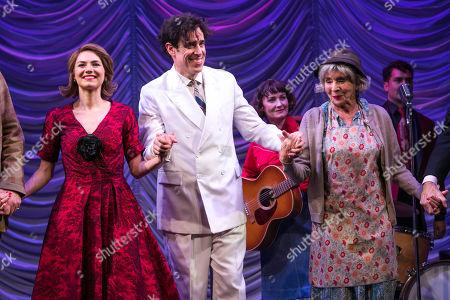 Kara Tointon (Daphne Binley), Stephen Mangan (Sidney Stratton) and Sue Johnston (Mrs Watson) during the curtain call