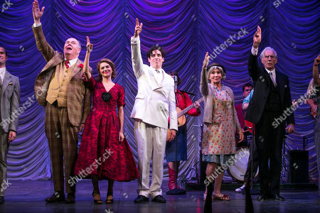 Richard Cordery (Birnley), Kara Tointon (Daphne Binley), Stephen Mangan (Sidney Stratton), Sue Johnston (Mrs Watson) and Richard Durden (Sir John) during the curtain call