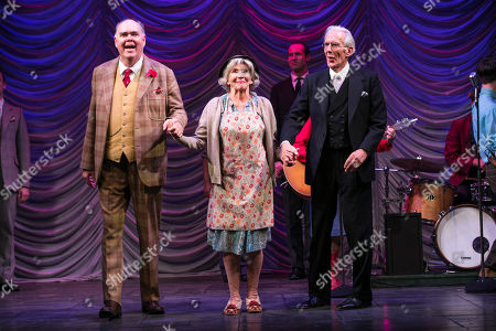 Richard Cordery (Birnley), Sue Johnston (Mrs Watson) and Richard Durden (Sir John) during the curtain call