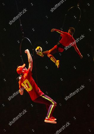 Artists perform during the last rehearsal of Cirque Soleil's 'Messi10' show in Barcelona, Catalonia, Spain, 08 October 2019. The show, based on the life and achievements of Argentinean soccer player Lionel Messi runs from 10 October until 10 November.