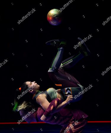 An artist performs during the last rehearsal of Cirque Soleil's 'Messi10' show in Barcelona, Catalonia, Spain, 08 October 2019. The show, based on the life and achievements of Argentinean soccer player Lionel Messi runs from 10 October until 10 November.