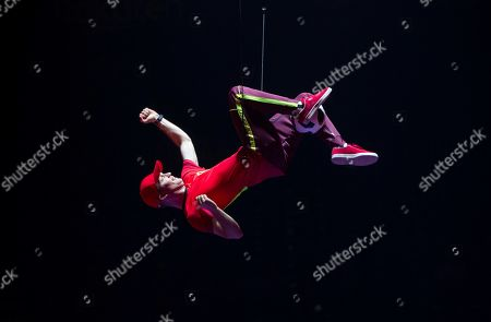 Stock Image of An artist performs during the last rehearsal of Cirque Soleil's 'Messi10' show in Barcelona, Catalonia, Spain, 08 October 2019. The show, based on the life and achievements of Argentinean soccer player Lionel Messi runs from 10 October until 10 November.