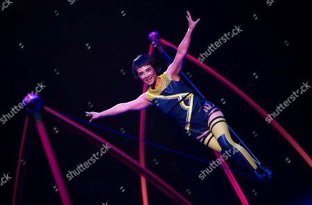 Stock Photo of An artist performs during the last rehearsal of Cirque Soleil's 'Messi10' show in Barcelona, Catalonia, Spain, 08 October 2019. The show, based on the life and achievements of Argentinean soccer player Lionel Messi runs from 10 October until 10 November.