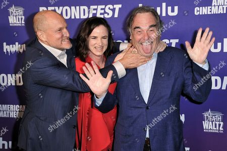 "Stock Picture of Woody Harrelson, Juliette Lewis, Oliver Stone. Woody Harrelson, from left, Juliette Lewis and Oliver Stone attend the Beyond Fest 25th Anniversary Screening of ""Natural Born Killers,"", in Los Angeles"