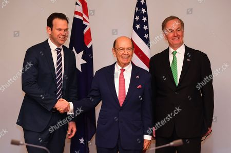 (L-R) Australian Resource Minister Matt Canavan, US Secretary of Commerce Wilbur Ross and US Ambassador to Australia Arthur B. Culvahouse pose for photographs during a meeting held to discuss the Australia-US Partnership on Critical Minerals at Parliament House in Canberra, Australia, 09 October 2019.