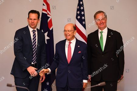 Stock Photo of (L-R) Australian Resource Minister Matt Canavan, US Secretary of Commerce Wilbur Ross and US Ambassador to Australia Arthur B. Culvahouse pose for photographs during a meeting held to discuss the Australia-US Partnership on Critical Minerals at Parliament House in Canberra, Australia, 09 October 2019.