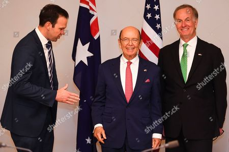 Stock Image of (L-R) Australian Resource Minister Matt Canavan, US Secretary of Commerce Wilbur Ross and US Ambassador to Australia Arthur B. Culvahouse pose for photographs during a meeting held to discuss the Australia-US Partnership on Critical Minerals at Parliament House in Canberra, Australia, 09 October 2019.