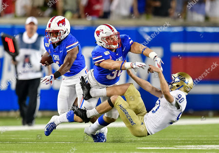 Southern Methodist Mustangs wide receiver CJ Sanders (1) waits for block from Southern Methodist Mustangs running back Tyler Lavine (30) during special teams during an NCAA Football game between the Tulsa Golden Hurricanes and SMU Mustangs at the Gerald J. Ford Stadium in Dallas, Texas, Oct. 5th, 2019