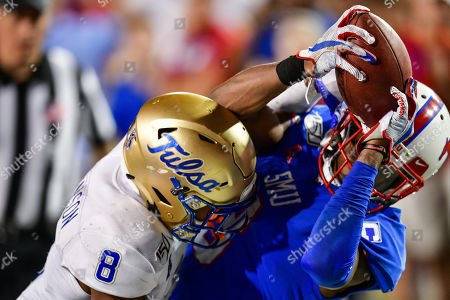 Stock Picture of Southern Methodist Mustangs wide receiver James Proche (3) catches the game winning touchdown during overtime against Tulsa Golden Hurricane safety Brandon Johnson (8) during an NCAA Football game between the Tulsa Golden Hurricanes and SMU Mustangs at the Gerald J. Ford Stadium in Dallas, Texas, Oct. 5th, 2019