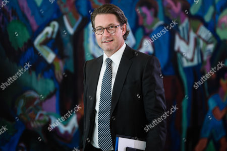 German Minister of Transport and Digital Infrastructure Andreas Scheuer arrives for the beginning of the weekly meeting of the German Federal cabinet at the Chancellery in Berlin, Germany, 09 October 2019. During the 70th cabinet meeting, the ministers and the Chancellor are expected to discuss, among others, the climate protection program 2030 for implementing the climate protection plan 2050.