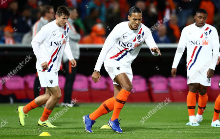 Virgil van Dijk of Netherlands warms up.
