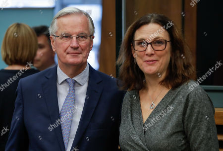 European Commissioner for Trade Cecilia Malmstrom (R) and European Union chief Brexit negotiator Michel Barnier attend the weekly college meeting of the European Commission in Brussels, Belgium, 09 September 2019.