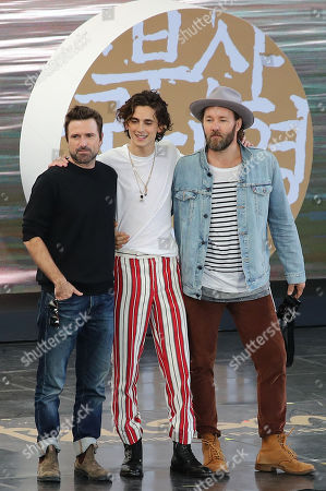 David Michod, US actor/cast member Timothee Chalamet and Australian actor/cast member and writer Joel Edgerton pose at an event for their movie 'The King' during the 24th Busan International Film Festival (BIFF), at the Busan Cinema Center, in Busan, South Korea, 09 October 2019. The BIFF runs 03 to 12 October 2019.