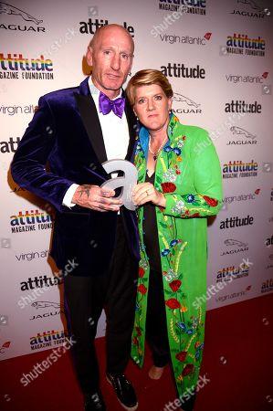 Gareth Thomas winner of The Attitude Gamechanger award and Clare Balding