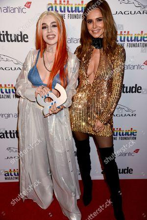 Stock Image of Ava Max winner of The Attitude Breakthrough award and Cheryl