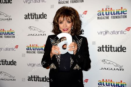 Stock Picture of Dame Joan Collins winner of The Attitude Icon award