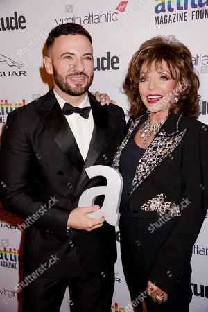 Stock Image of Cliff Joannou and Dame Joan Collins winner of The Attitude Icon award